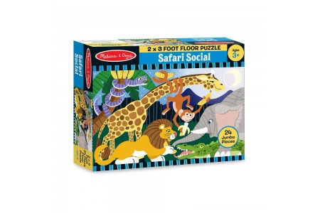 Melissa And Doug Safari Social Jumbo Floor Puzzle 24pc Free Shipping