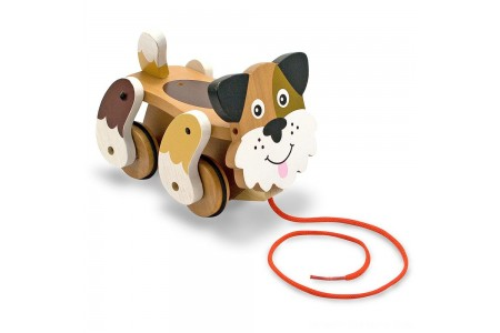 Melissa & Doug Playful Puppy Wooden Pull Toy for Beginner Walkers Free Shipping