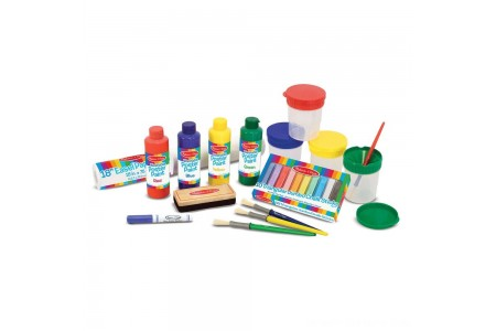 Melissa & Doug Easel Accessory Set - Paint, Cups, Brushes, Chalk, Paper, Dry-Erase Marker Free Shipping