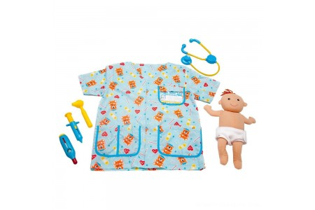 Melissa & Doug Pediatric Nurse Role Play Costume Set (8pc) - Includes Baby Doll, Stethoscope, Adult Unisex, Size: Newborn, Gold Free Shipping