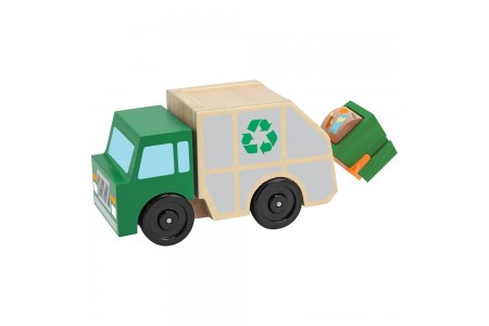Melissa & Doug Garbage Truck Wooden Vehicle Toy (3pc) Free Shipping