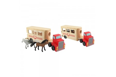 Melissa & Doug Horse Carrier Wooden Vehicle Play Set With 2 Flocked Horses and Pull-Down Ramp Free Shipping