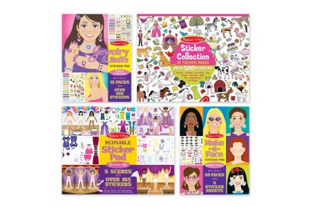 Melissa & Doug Sticker Pads Set: Jewelry and Nails, Dress-Up, Make-a-Face, Favorite Themes - 1225+ Stickers Free Shipping