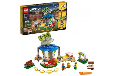 LEGO Creator Fairground Carousel 31095 Space-Themed Building Kit with Ice Cream Cart 595pc Free Shipping