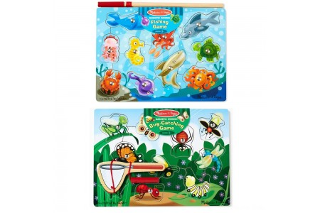 Melissa & Doug Magnetic Wooden Puzzle Game Set: Fishing and Bug Catching Free Shipping