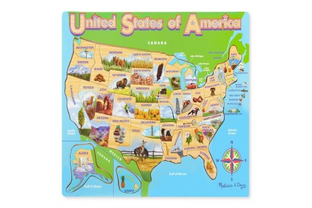 Melissa & Doug USA Map Wooden Jigsaw Puzzle 45pc Free Shipping