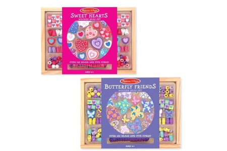 Melissa & Doug Sweet Hearts and Butterfly Friends Bead Set of 2 - 250+ Wooden Beads Free Shipping