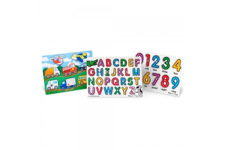 Melissa & Doug Wooden Peg Puzzles Set - Alphabet, Numbers, and Vehicles 44pc Free Shipping