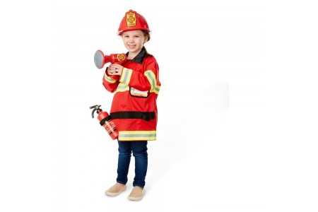 Melissa & Doug Fire Chief Role Play Costume Dress-Up Set (6pc), Adult Unisex, Size: Small, Red Free Shipping