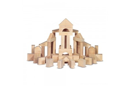 Melissa & Doug Standard Unit Solid-Wood Building Blocks With Wooden Storage Tray (60pc) Free Shipping