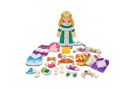 Melissa & Doug Deluxe Princess Elise Magnetic Wooden Dress-Up Doll Play Set (24pc) Free Shipping