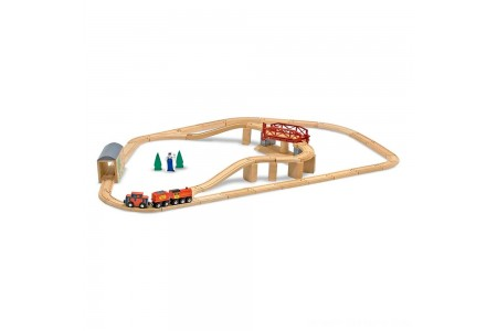 Melissa & Doug Swivel Bridge Wooden Train Set (47pc) Free Shipping