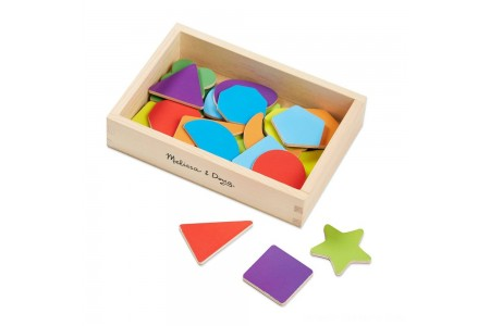Melissa & Doug 25 Wooden Shape and Color Magnets in a Box Free Shipping