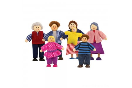 Black Friday 2020 Sale Melissa & Doug 7-Piece Poseable Wooden Doll Family for Dollhouse (2-4 inches each) Free Shipping