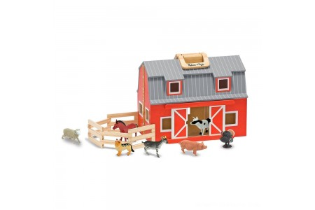 Melissa & Doug Fold and Go Wooden Barn Play Set - 10pc Free Shipping