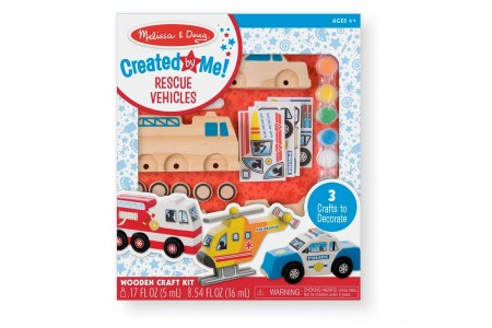 Melissa & Doug Decorate-Your-Own Wooden Rescue Vehicles Craft Kit - Police Car, Fire Truck, Helicopter Free Shipping