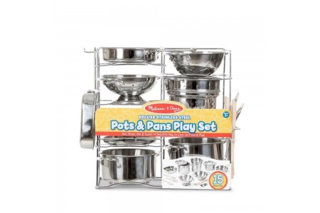 Melissa & Doug Deluxe Stainless Steel Pots & Pans Play Set Free Shipping