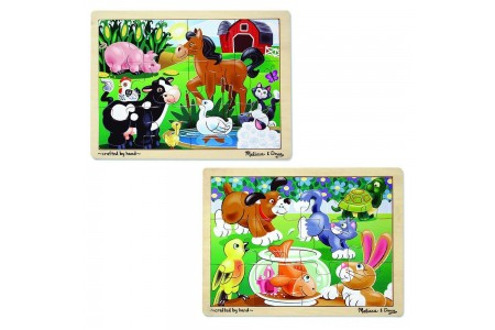 Melissa & Doug Animals Wooden Jigsaw Puzzles Set - Pets and Farm Life (24pc) Free Shipping