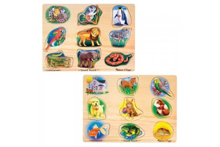 Black Friday 2020 Sale Melissa & Doug Sound Puzzles Set: Pets and Wild Animals Wooden Peg Puzzles 2pc Free Shipping