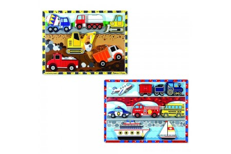 Melissa & Doug Wooden Chunky Puzzles Set - Vehicles and Construction 15pc Free Shipping