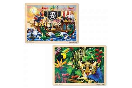 Melissa & Doug Wooden Jigsaw Puzzles Set - Rainforest Animals and Pirate Ship 2pc Free Shipping