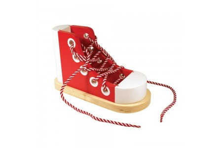 Melissa & Doug Deluxe Wood Lacing Sneaker - Learn to Tie a Shoe Educational Toy Free Shipping