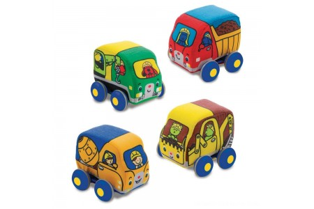 Melissa & Doug Pull-Back Construction Vehicles - Soft Baby Toy Play Set of 4 Vehicles Free Shipping