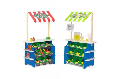 Black Friday 2020 Sale Melissa & Doug Wooden Grocery Store and Lemonade Stand - Reversible Awning, 9 Bins, Chalkboards Free Shipping