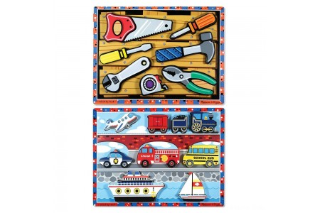Melissa & Doug Doug Vehicles and Tools Wooden Chunky Puzzle Bundle 2pc Free Shipping