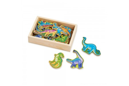 Melissa & Doug Magnetic Wooden Dinosaurs with Wooden Tray - 20pc Free Shipping