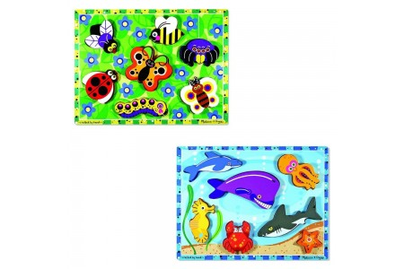 Black Friday 2020 Sale Melissa & Doug Wooden Chunky Puzzles Set - Ocean Animals and Insects 14pc Free Shipping