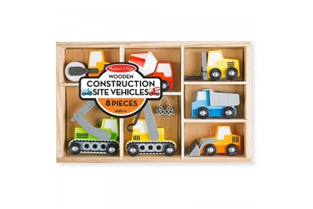 Melissa & Doug Wooden Construction Site Vehicles With Wooden Storage Tray (8pc) Free Shipping