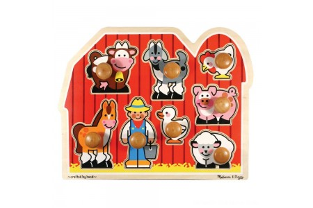 Black Friday 2020 Sale Melissa & Doug Farm Animals Jumbo Knob Wooden Puzzle 8pc Free Shipping
