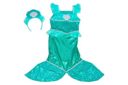 Melissa & Doug Mermaid Role Play Costume Set - Gown With Flaired Tail, Seashell Tiara, Women's Free Shipping