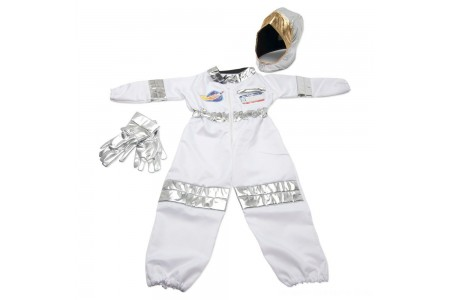 Melissa & Doug Astronaut Role Play Costume Set (5pc) - Jumpsuit, Helmet, Gloves, Name Tag, Adult Unisex, Size: Small, Red/Gold/Silver Free Shipping