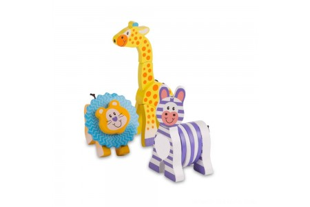 Melissa & Doug First Play Set of 3 Safari Animal Wooden Grasping Toys Free Shipping