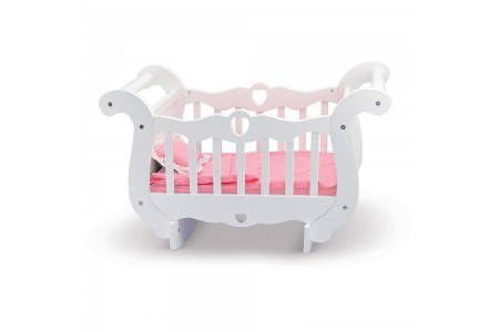 Melissa & Doug White Wooden Doll Crib With Bedding (30 x 18 x 16 inches) Free Shipping