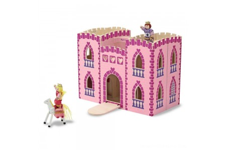Melissa & Doug Fold and Go Wooden Princess Castle With 2 Royal Play Figures, 2 Horses, and 4pc of Furniture Free Shipping