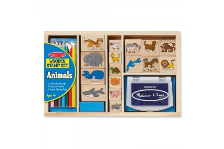 Melissa & Doug Wooden Stamp Set: Animals - 16 Stamps, 4 Colored Pencils, Stamp Pad Free Shipping
