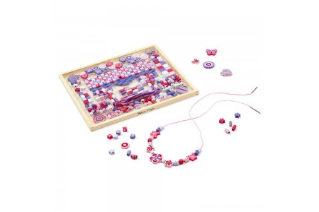 Melissa & Doug Deluxe Collection Wooden Bead Set With 340+ Beads for Jewelry-Making Free Shipping