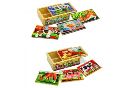 Melissa & Doug Animals 4-in-1 Wooden Jigsaw Puzzles Set - Pets and Farm 96pc Free Shipping