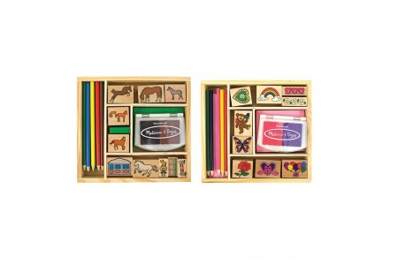Melissa & Doug Wooden Stamp Sets (2): Friendship and Horses Free Shipping