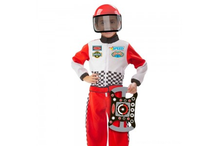 Melissa & Doug Race Car Driver Role Play Costume Set (3pc) - Jumpsuit, Helmet, Steering Wheel, Adult Unisex, Size: Small, Gold Free Shipping