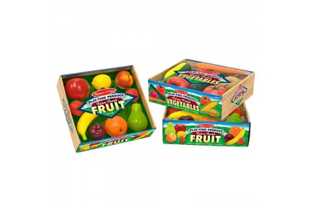 Melissa & Doug Playtime Produce Fruits Play Food Set With Crate (9pc) Free Shipping