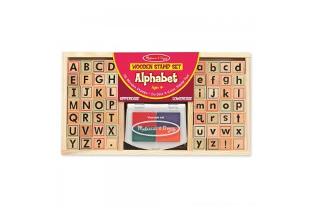 Melissa & Doug Wooden Alphabet Stamp Set - 56 Stamps With Lower-Case and Capital Letters Free Shipping
