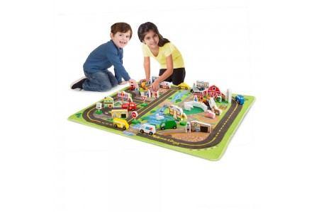 Black Friday 2020 Sale Melissa & Doug Deluxe Activity Road Rug Play Set with 49pc Wooden Vehicles and Play Free Shipping