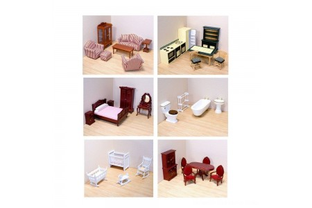 Melissa & Doug Classic Victorian Wooden and Upholstered Dollhouse Furniture (35pc) Free Shipping