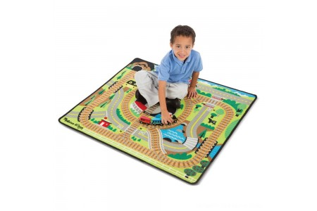 Black Friday 2020 Sale Melissa & Doug Round the Rails Train Rug With 3 Linking Wooden Train Cars (39 x 36 inches) Free Shipping