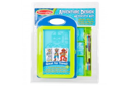 Melissa & Doug Adventure Design Activity Kit: 9 Double-Sided Plates, 4 Colored Pencils, Crayon Free Shipping