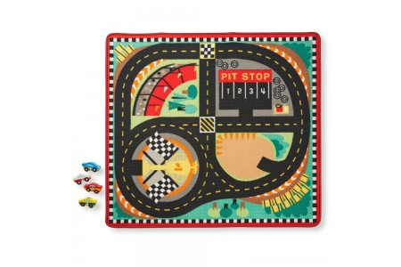 Black Friday 2020 Sale Melissa & Doug Round the Speedway Race Track Rug With 4 Race Cars (39 x 36 inches) Free Shipping